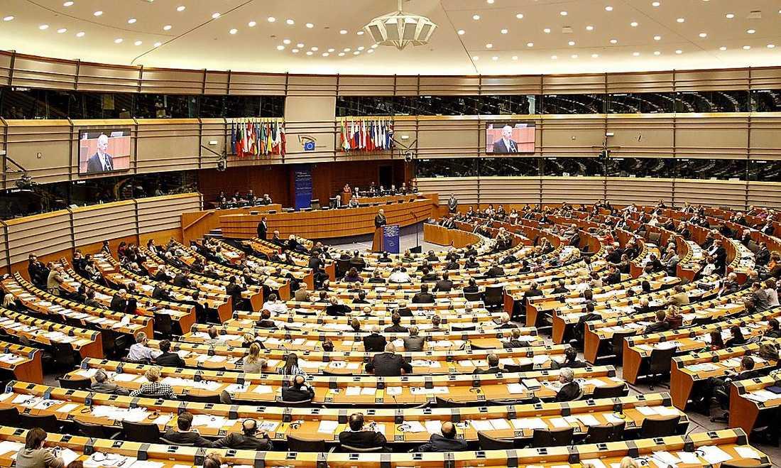 Omkring 60 procent av all lagstiftning som passerar Sveriges riksdag har sitt ursprung i EU. På bilden EU-parlamentet i Bryssel.