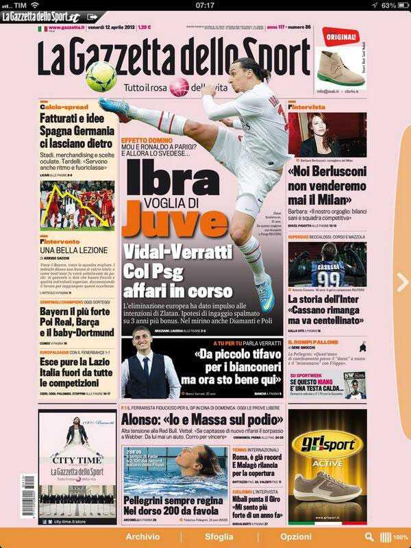 """Gazzettan: """"Juventus byter Vidal mot Veratti och Zlatan"""""""