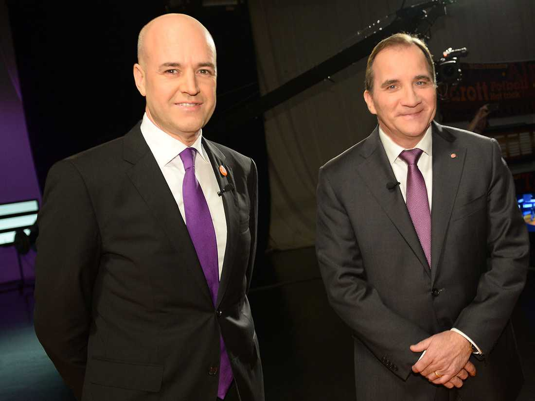 Lila slips på båda partiledarna.