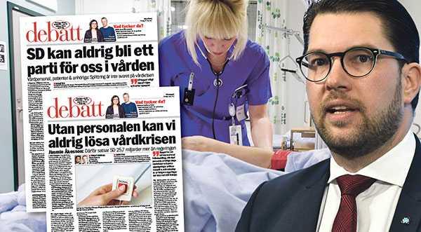 Det är helt fel att säga att SD:s vårdpolitik skulle göra skillnad på etnicitet, kön eller sexuell läggning, skriver debattörerna varav många är aktiva inom Sverigedemokraterna. OBS! Sköterskan på bilden har inte med texten att göra.