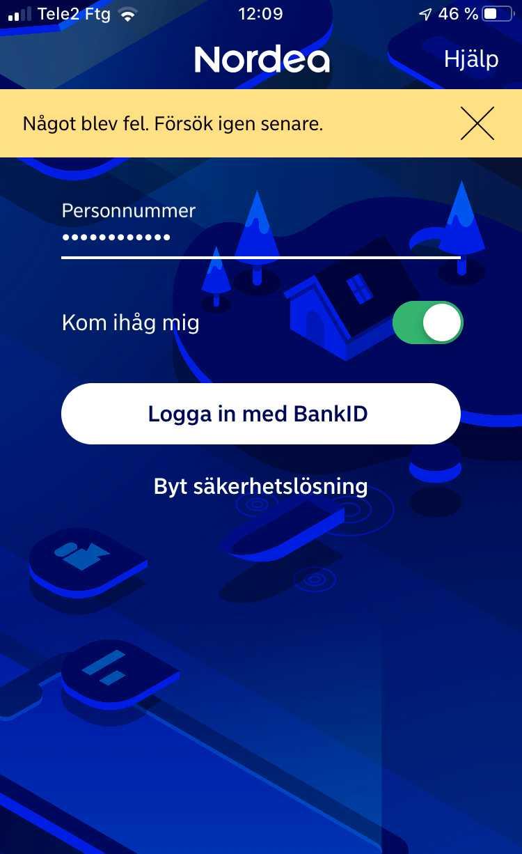 Det går inte att logga in på Nordeas mobilbank. Men ett enkelt trick löser problemet.