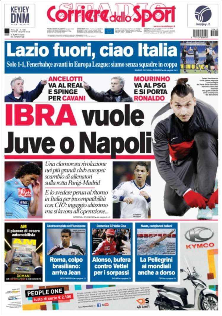 """Corriere dello Sport: """"Ibra väljer mellan Juve och Napoli"""""""