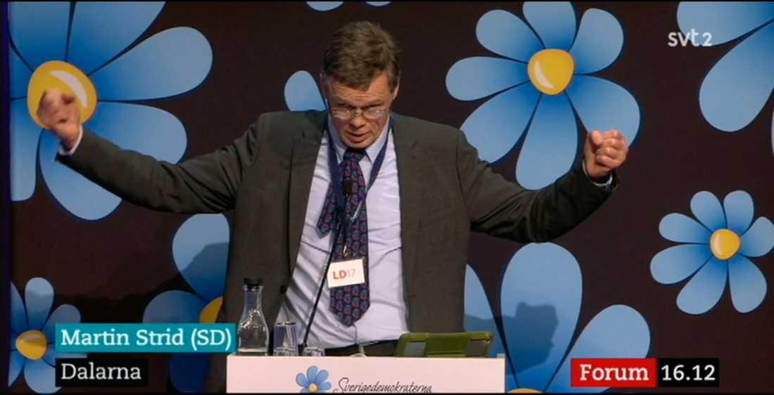 Martin Strid på Sverigedemokraternas landsmöte i Norrköping.