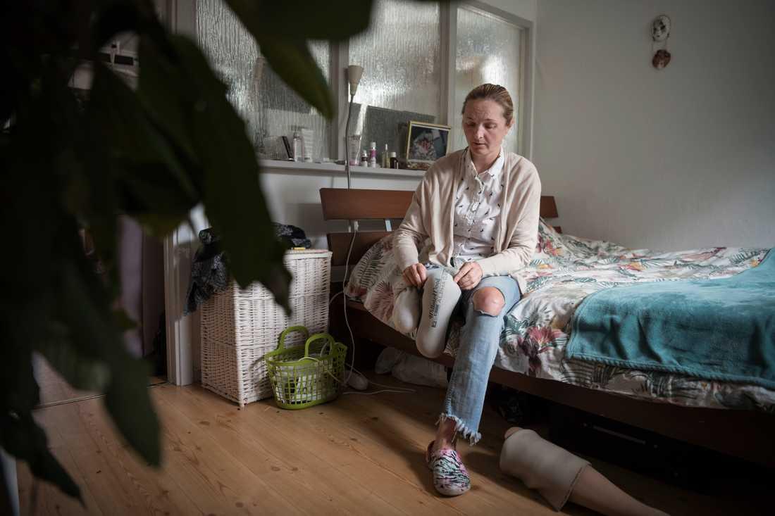 Iryna, 38 år, från Ukraina skadades i terrordådet på Drottningatan den 7 april 2017.