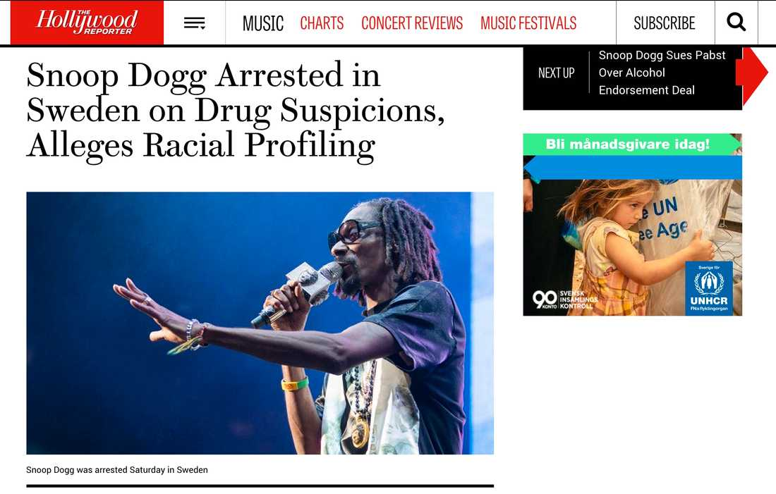 Hollywood Reporter Snoop Dogg Arrested in Sweden on Drug Suspicions, Alleges Racial Profiling