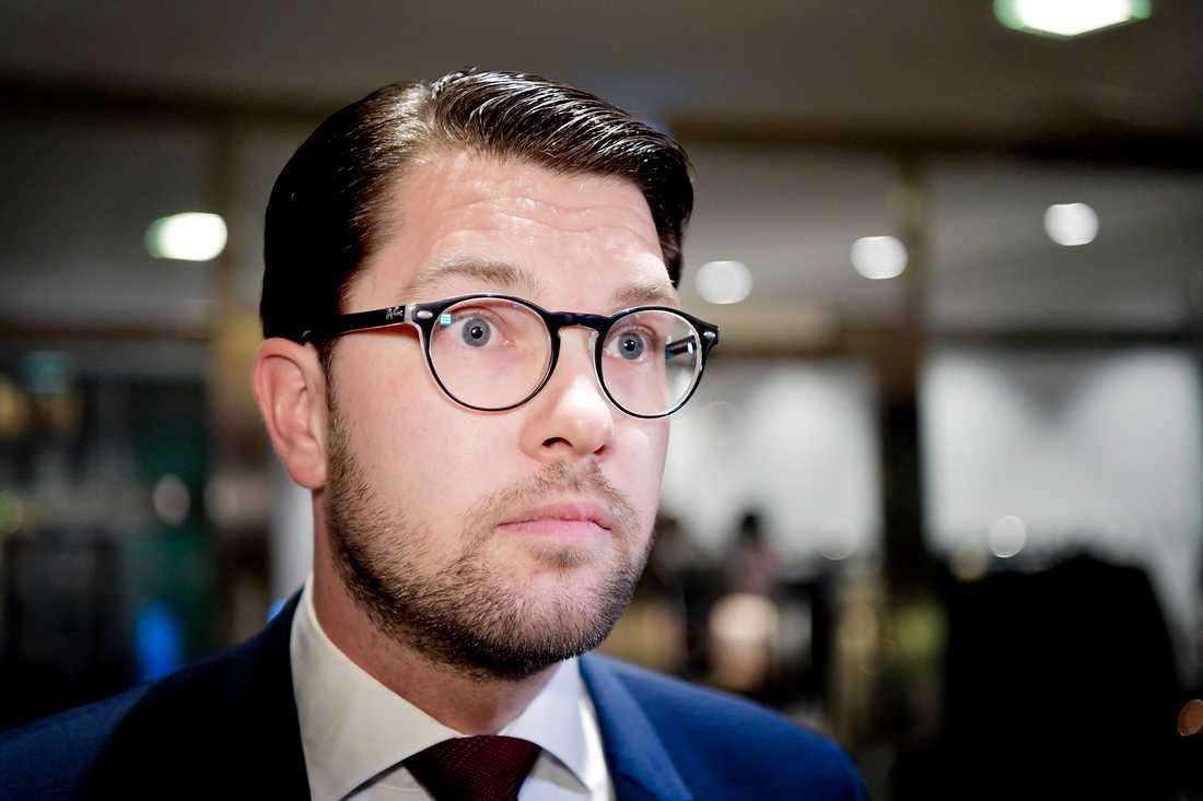 Sverigedemokraternas partiledare Jimmie Åkesson ställer krav på Anna Kinberg Batra