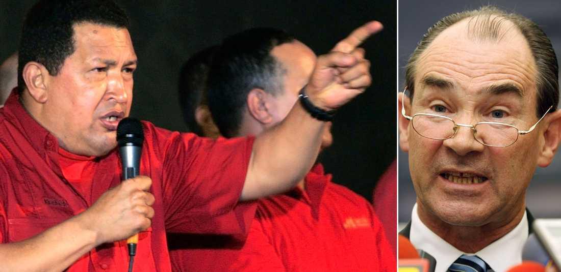 """Går till attack Venezuelas president Hugo Chavez utvisade på torsdagen USA:s ambassadör i Caracas med orden """"Skitjänkare, ni kan dra åt helvete hundra gånger om."""""""