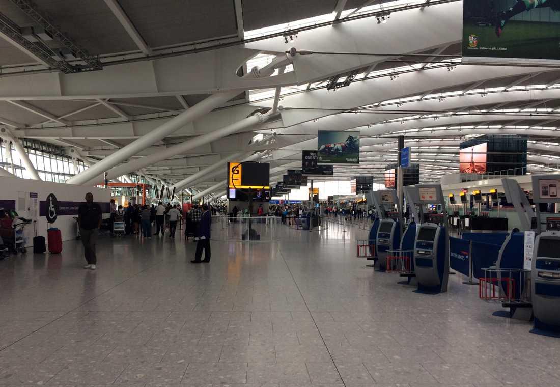 Heatrows flygplats. Arkivbild