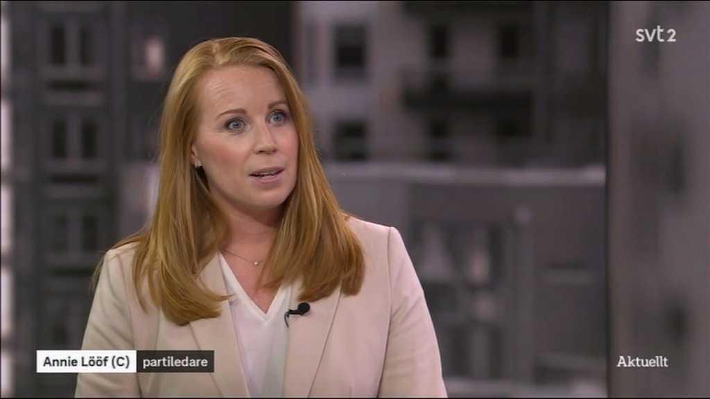 Centerledaren Annie Lööf gästade SVT:s Aktuellt på onsdagskvällen.
