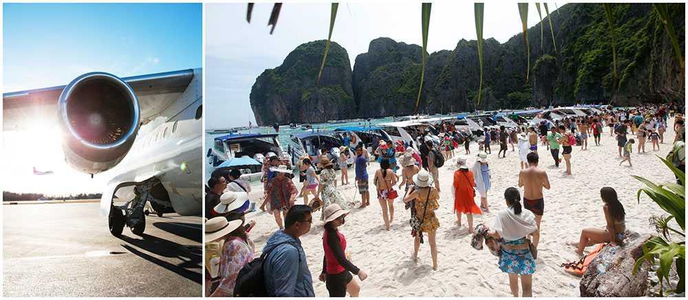 Thailand ska få två nya flygplatser för att möta det ökande antalet turister. Samtidigt stängs den populära stranden Maya Bay ner på grund av att turister skadat det marina livet och korallrevet.