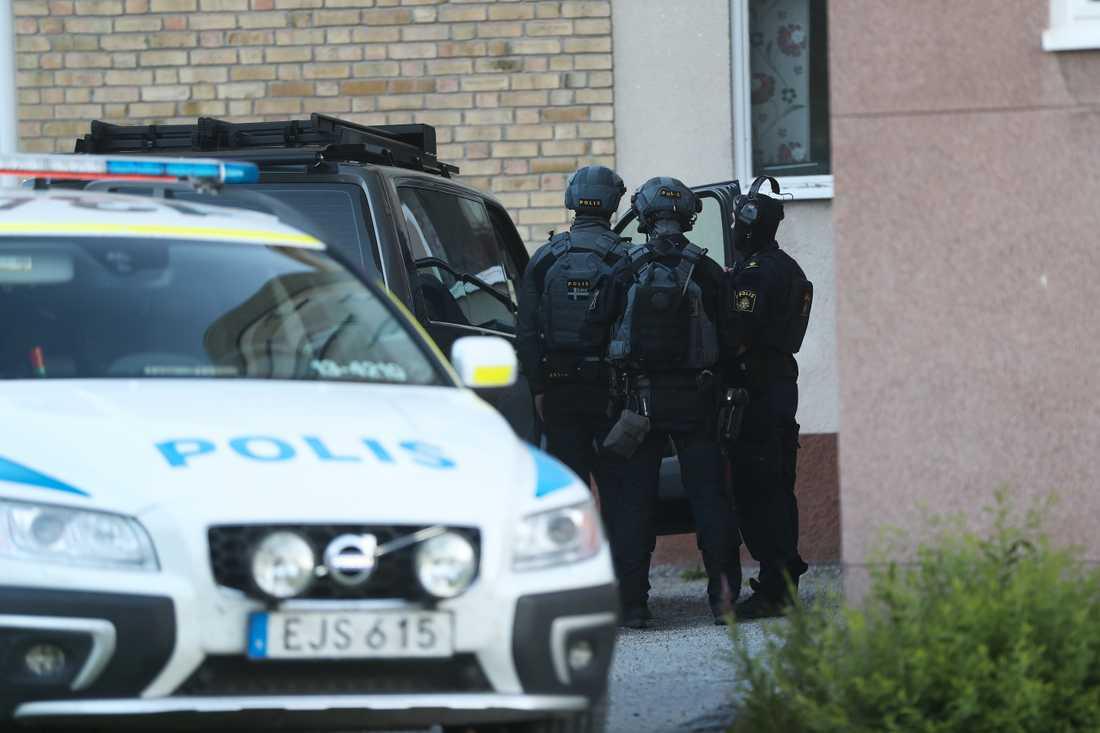 Polisinsatsen pågick under lördagkvällen.