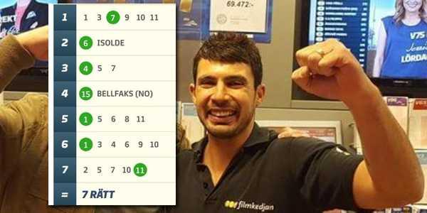 Alan Issa drog in 4,1 miljoner kronor på V75.