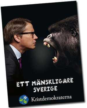 I KD:s nya serie affischer inför valet syns partiledaren Göran Hägglund ansikte mot ansikte med en serie djur.
