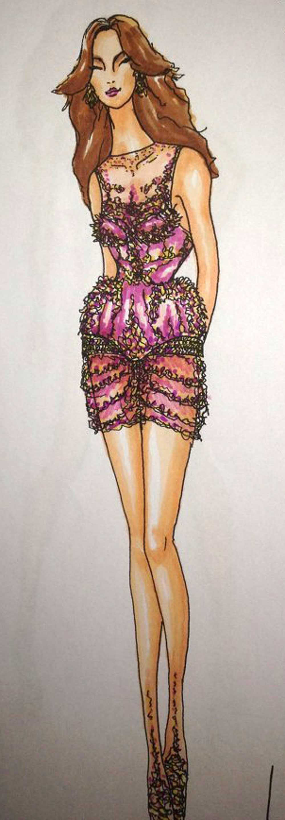 Perrelli kommer att vara klädd i en blingad klänning (bilden på skissen – hämtad från blogg.damernasvarld.se/charlotteperrelli).