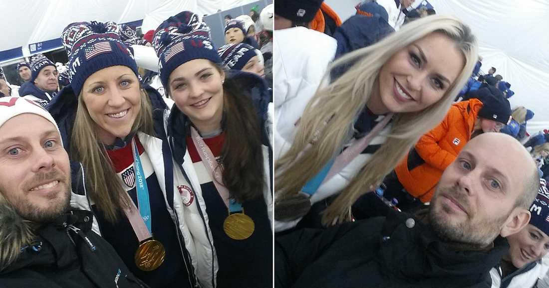 MITT BLAND STJÄRNORNA: Till vänster: Niklas med två av guldhjältarna i USA:s hockeylag, Meghan Duggan och Nicole Hensley. Till höger: Med Lindsey Vonn.