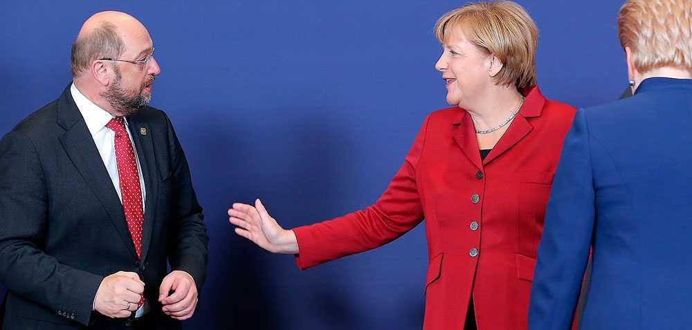 RIVALER De tyska socialdemokraterna, SPD, hoppas att Martin Schulzs kandidatur till ordförande för EU-kommissionen ska dominera valet i maj. Då slipper de slåss öppet i valrörelsen med sina rivaler, Angela Merkels kristdemokraterna – som de också sitter i regering med.