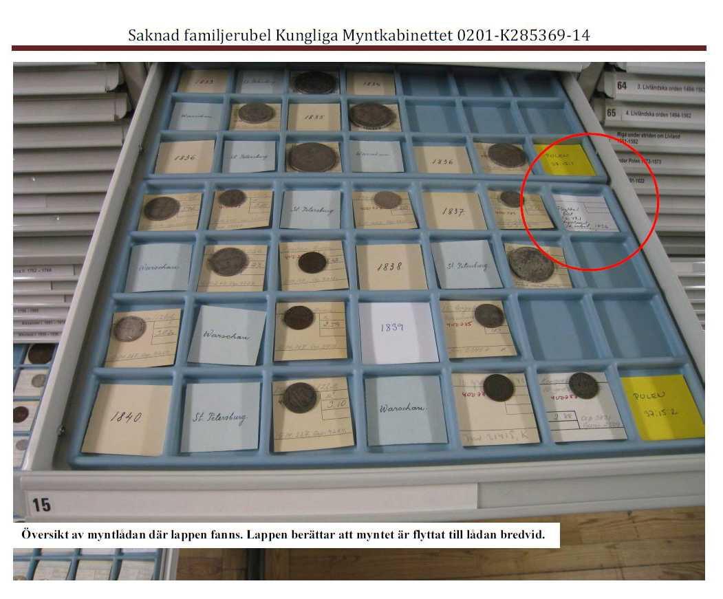 Bild från polisens förundersökningsprotokoll som visar var den ryska familjerubeln borde ha legat i det Kungliga Myntkabinettets samling.