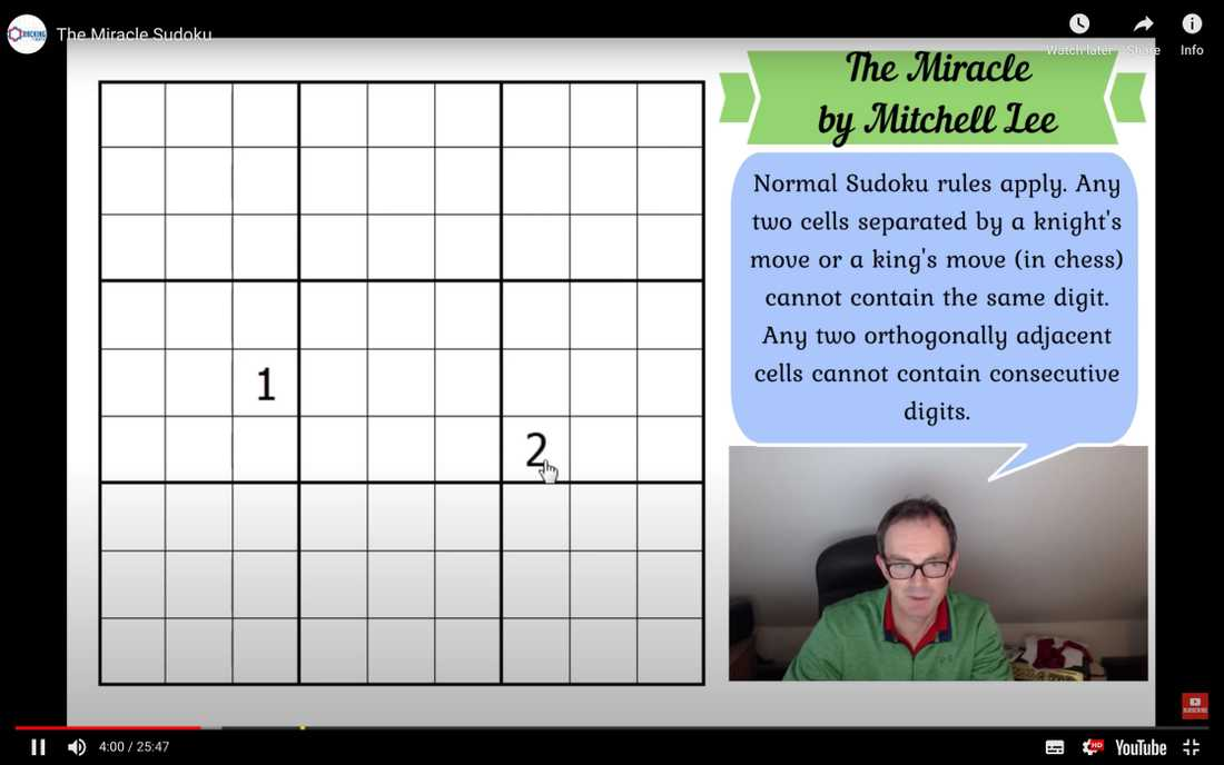 """The Miracle Sudoku"" på Youtube."