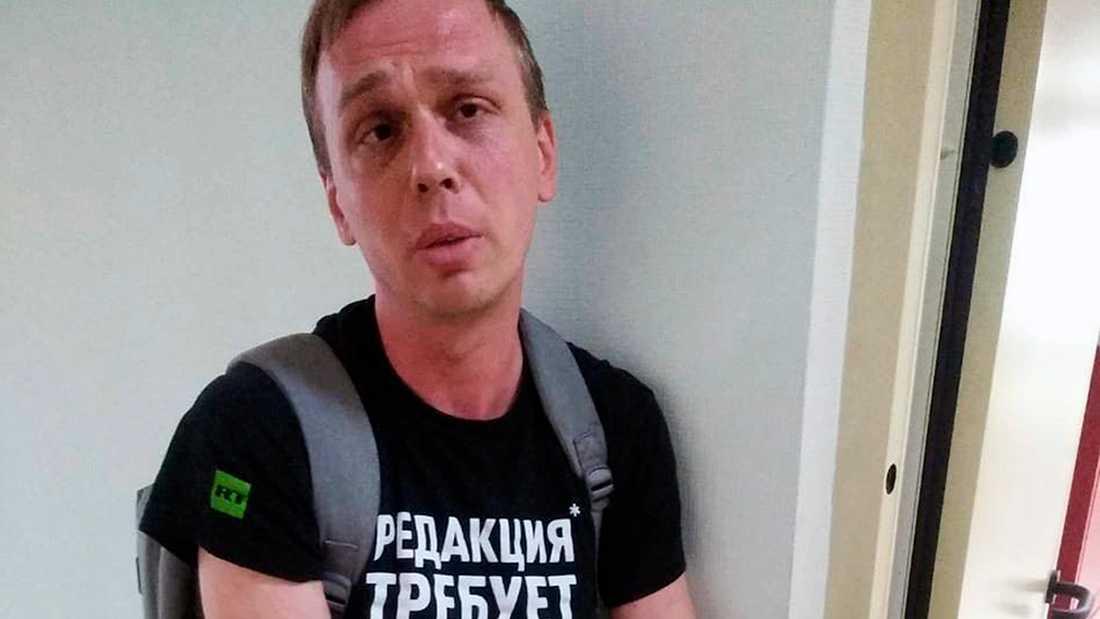 Den ryske journalisten Ivan Golunov på en bild från en polisstation i Moskva på torsdagen.