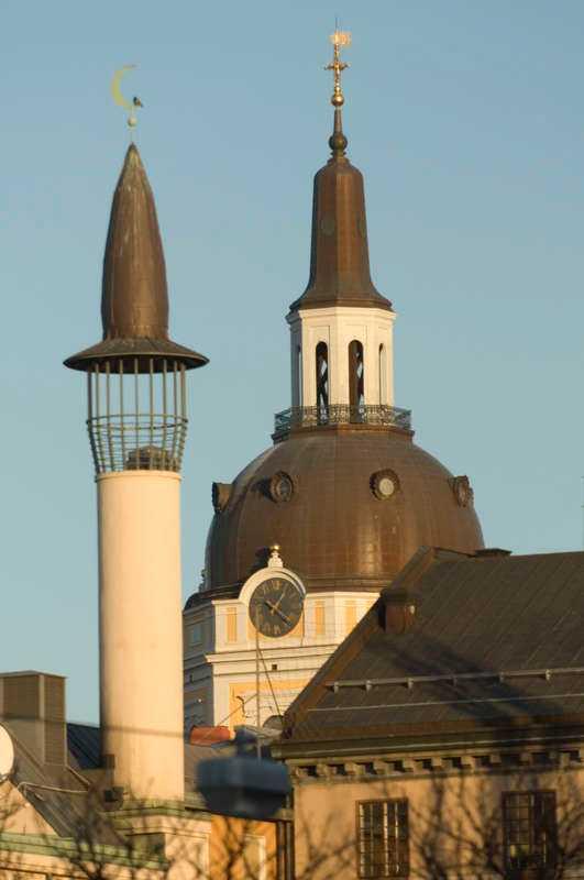 Stockholms moské och Katarina kyrka.