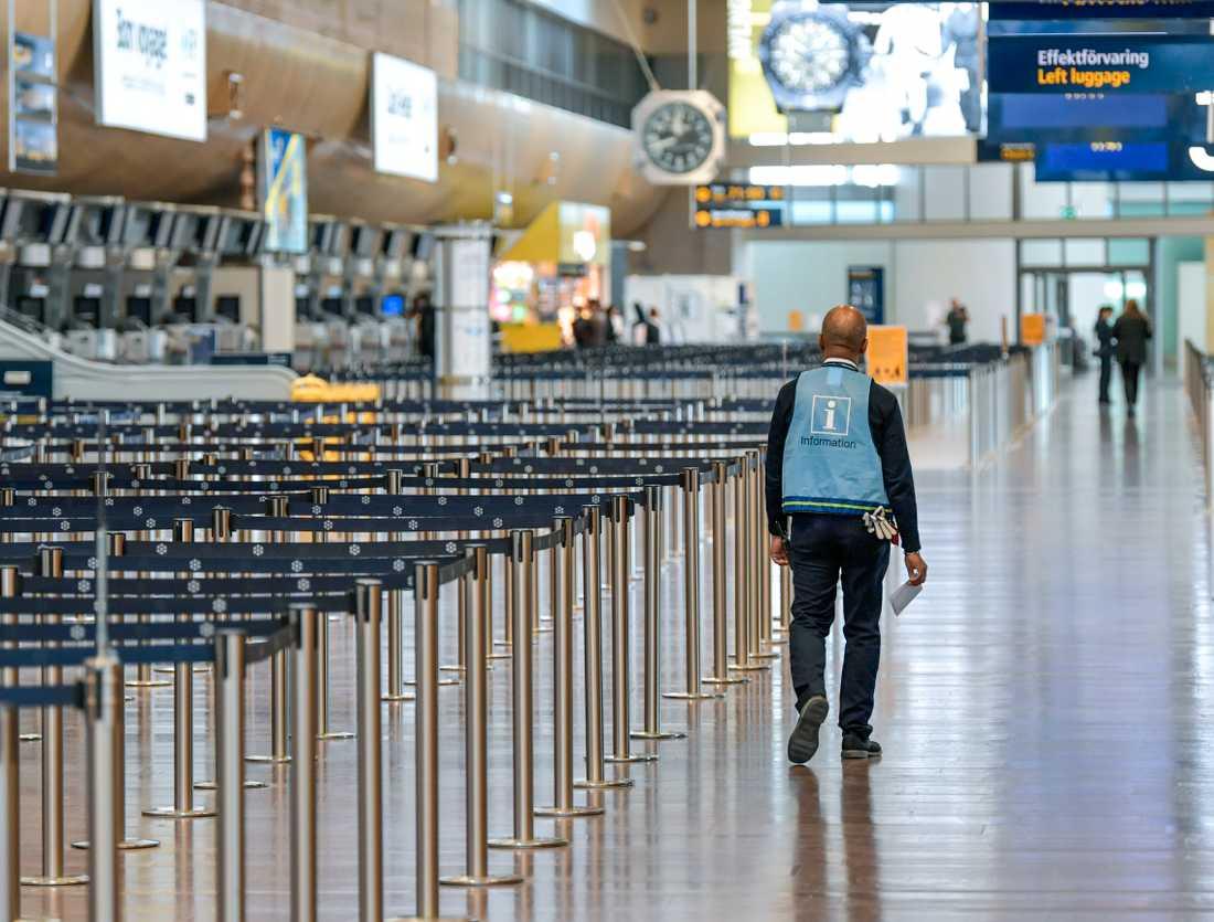 Swedavias flygplatser står i princip öde. Arkivbild.