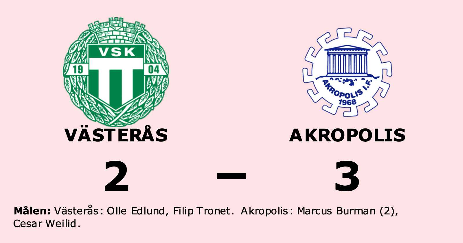 Akropolis segrare borta mot Västerås