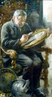"""68-åringen tros ha bytt ut signaturen på verket """"Konstkännaren"""". Upphovsmannen var egentligen Alf Wallander men konstförfalskaren målade dit den finländske nationalmålaren Albert Edelfelts signatur."""