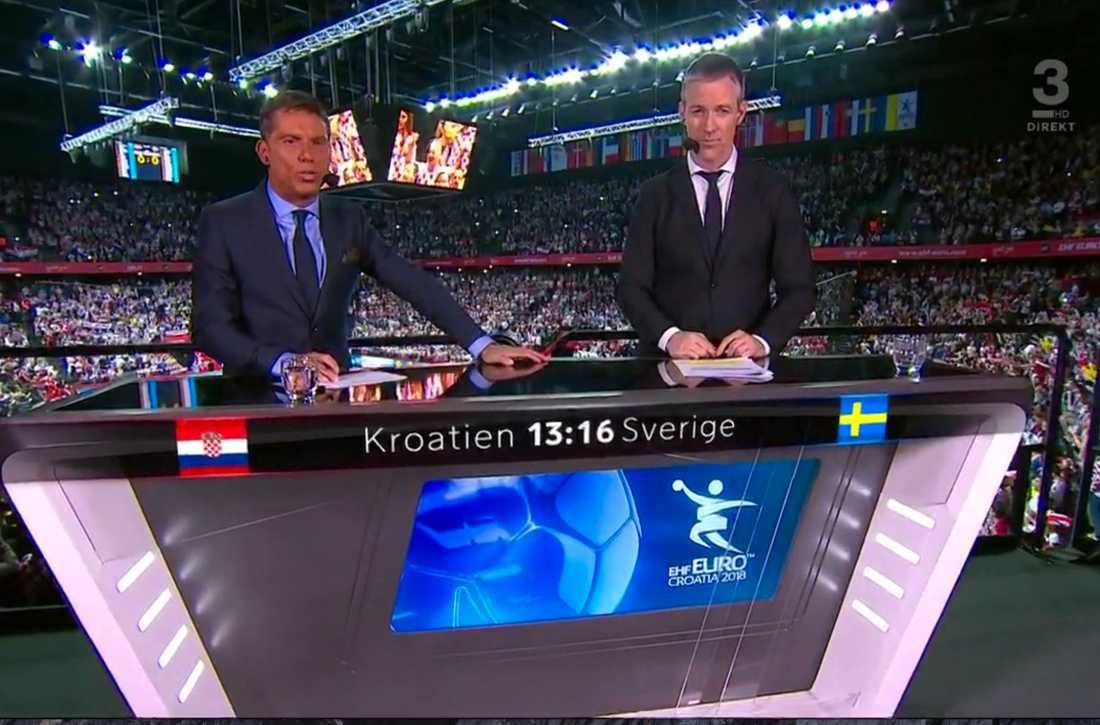 Viasats Ola Wenström och Martin Frändesjö i TV3s studio.