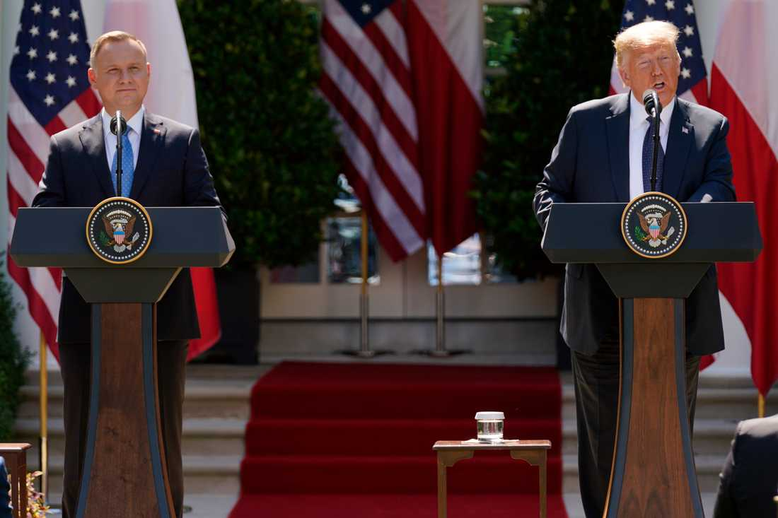 Polens president Andrzej Duda på en presskonferens med Donald Trump i rosenträdgården utanför Vita huset i juni i år. Arkivbild.