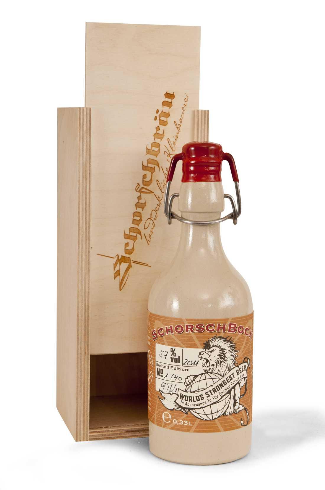"""Ölen """"Schorschbock 57"""" påstås av det tyska bryggeriet vara världens starkaste."""