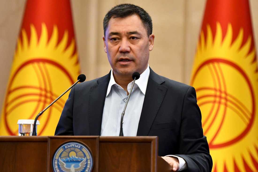 Den forna Sovjetrepubliken Kirgizistans tillförordnade president Sadyr Japarov. Arkivbild.