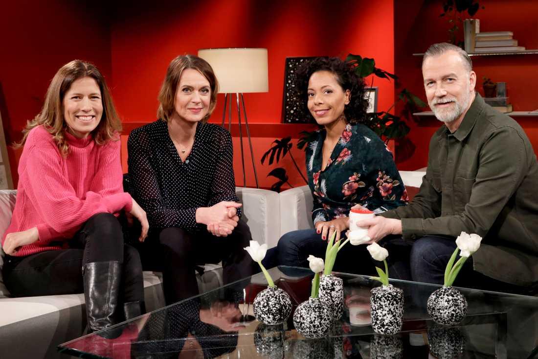 Programledarna Linda Olofsson, Inger Ljung Olsson, Pia Herrera och Beppe Starbrink.