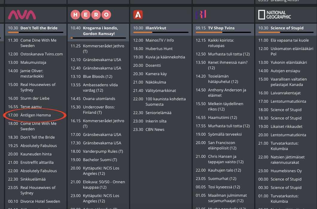 Den finska tv-tablån.