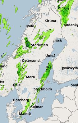 SMHI:s nederbördskarta, fredag klockan 18.00.