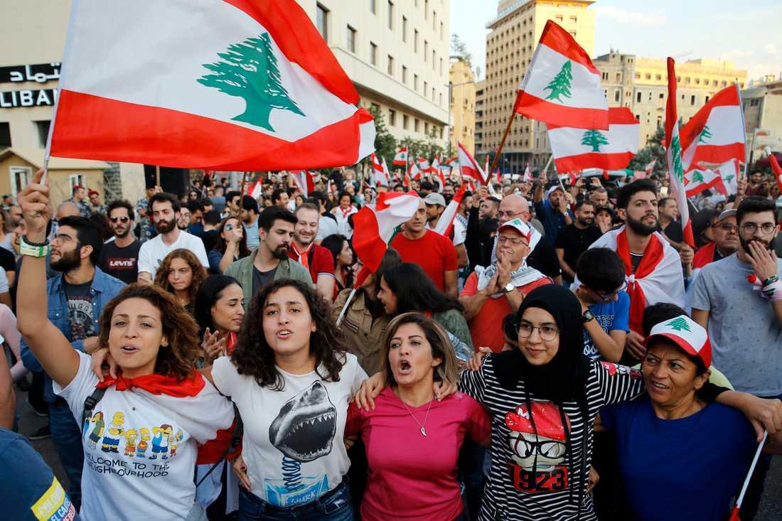 Demonstranter i Beirut.