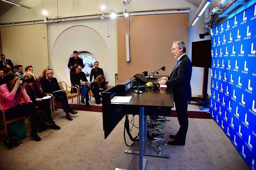 Jan Björklund under pressträffen