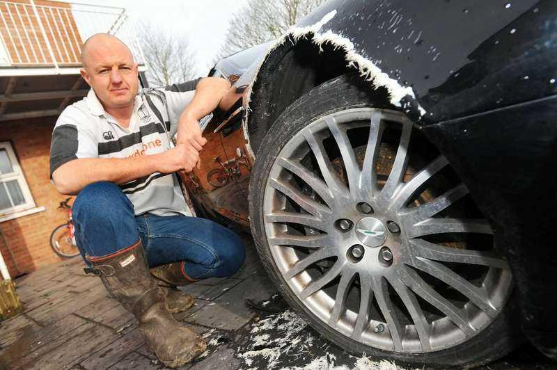 Dyr tuggleksakRoyston Grimsteads Aston Martin fick bitmärken för 30 000 kronor av hunden Luce.