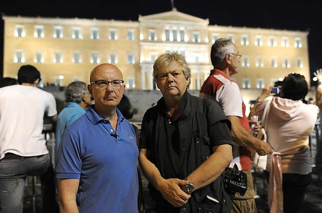 PÅ PLATS Aftonbladets reporter Peter Kadhammar och fotograf Urban Andersson på plats i Aten, Grekland.