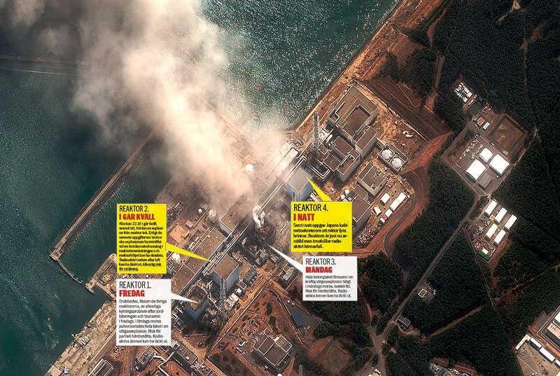 Risken för ett massivt radioaktivt utsläpp är överhängande i Fukushima 1. Klicka på bilden för en större version.