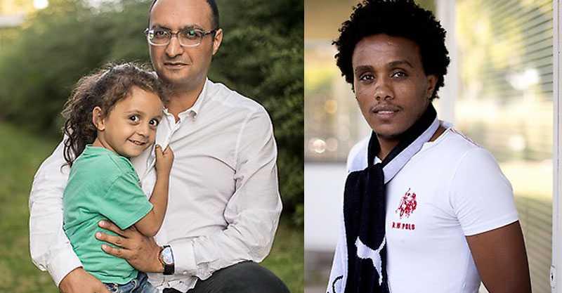 """Bassel Arnous med dottern Diana, 4, till vänster, och ett nytt """"Peking""""-fan: Kilfe Zereabruk."""