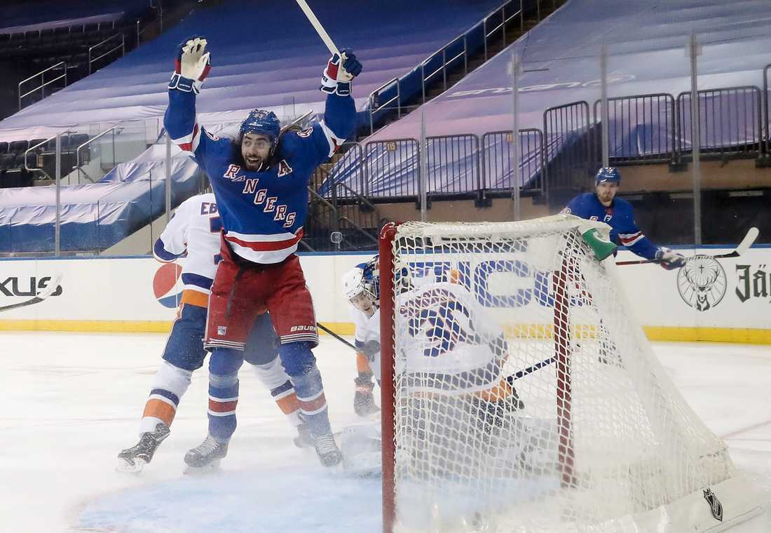 Mika Zibanejad jublar mot NY Islanders.
