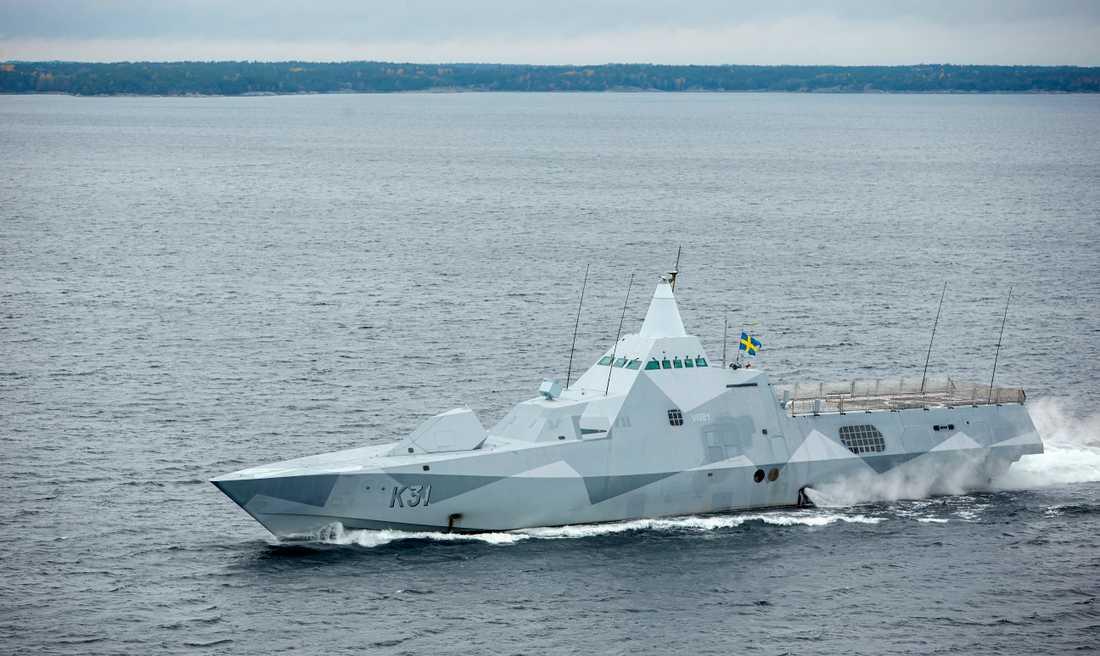 Arkivbild. Kustkorvetten HMS Visby under den militära sökoperationen i Stockholms skärgård 2014