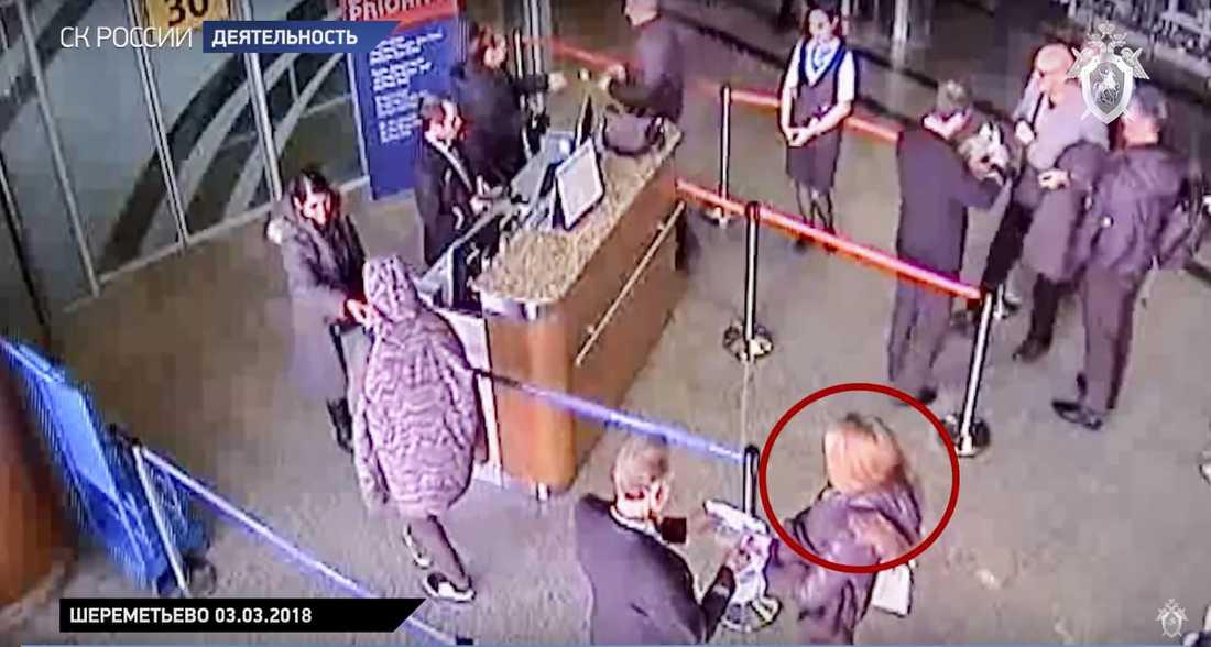 Övervakningsfilm från Moskvas flygplats som visar Julia Skripal innan hon flög till London.