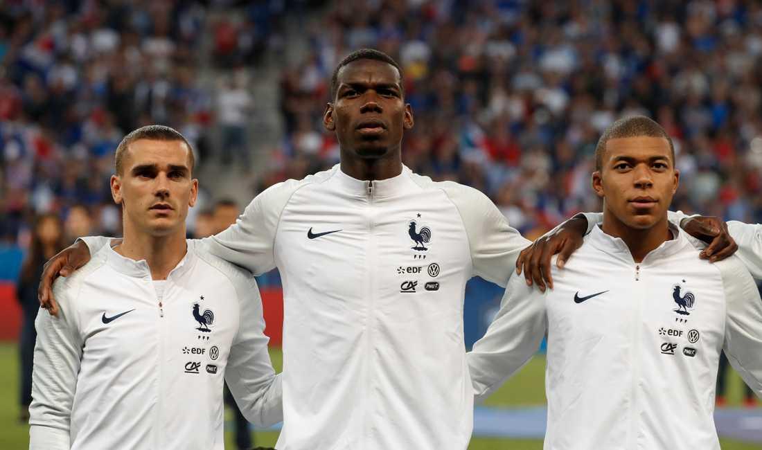 Tre franska profiler redo för VM: Griezmann, Pogba, Mbappé.