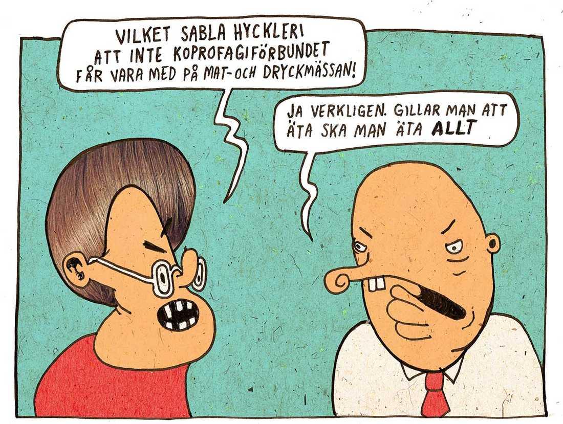 Debatten om mässor och yttrandefrihet, enligt Aftonbladet Kulturs tecknare Pontus Lundkvist.