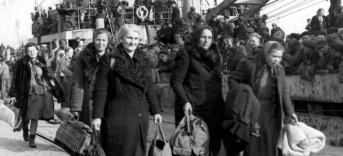 Flyktingar från Tyskland anländer till Trelleborg under andra världskriget. I morgon är det internationell minnesdag för Förintelsens offer.