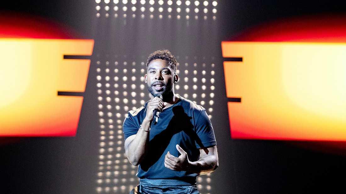John Lundviks första rep i Eurovision-arenan i Tel Aviv.