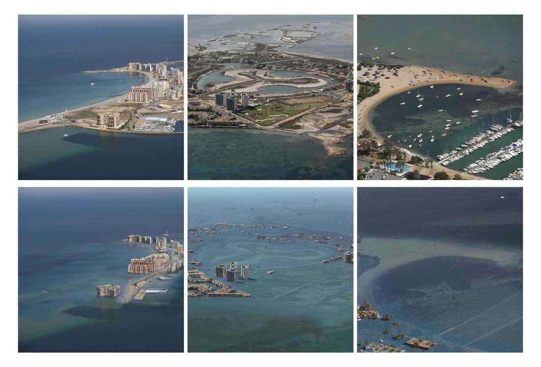 De tre övre bilderna visar Spaniens solkust i dag. De nedre bilderna visar hur samma platser kan se ut år 2070.
