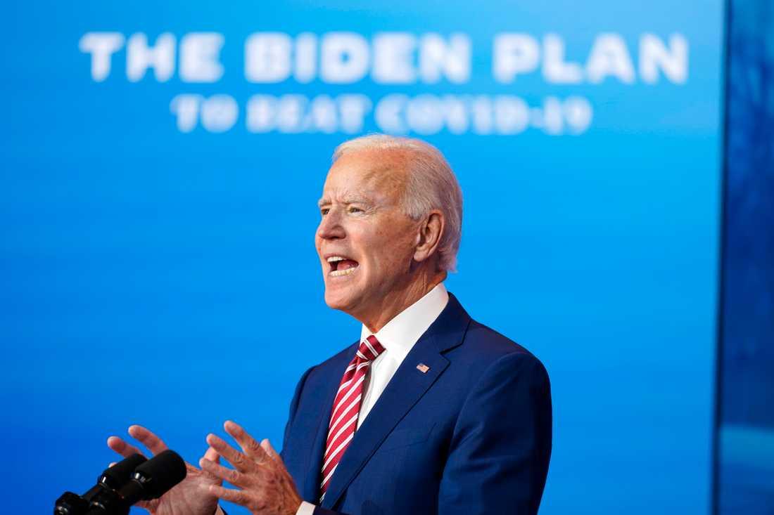 Joe Biden höll tal om coronaviruset.