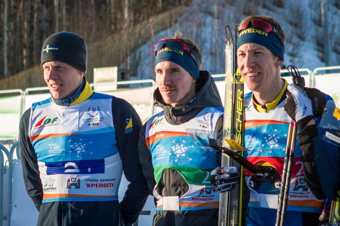 Sveriges stafettlag med Martin Hammarberg, Ulrik Nordberg och Erik Rost.